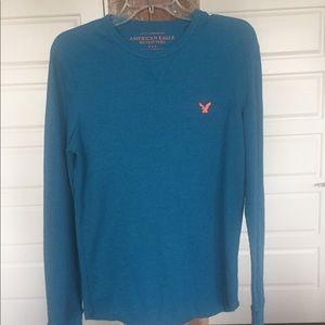 American Eagle teal waffle knit long sleeve shirt